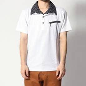 スタイルブロック STYLEBLOCK ブライト針抜きストライプフェイクシャツヘンリーTシャツ (ホワイト)