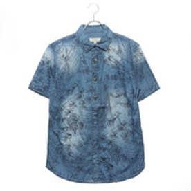 スタイルブロック STYLEBLOCK デニムボタニカル柄プリントコンチョボタン半袖シャツ (ブルー)