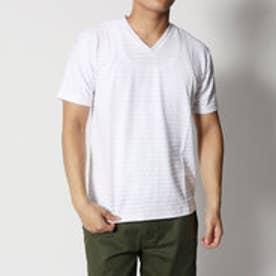 スタイルブロック STYLEBLOCK ジャガードボーダーVネック半袖Tシャツ (ホワイト)