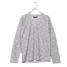 スタイルブロック STYLEBLOCK リップル引き揃えMIXカラー杢VネックロンTカットソー長袖Tシャツ (グレー)