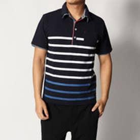 スタイルブロック STYLEBLOCK カノコパネルボーダープリントポケ付き2枚衿ポロシャツ (ネイビー)