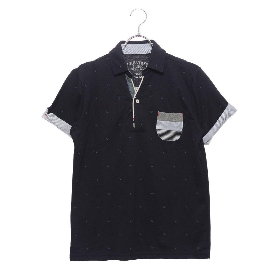 ロコンド 靴とファッションの通販サイトスタイルブロックSTYLEBLOCKカノコカモメプリントスキッパーポロシャツ(ネイビー)