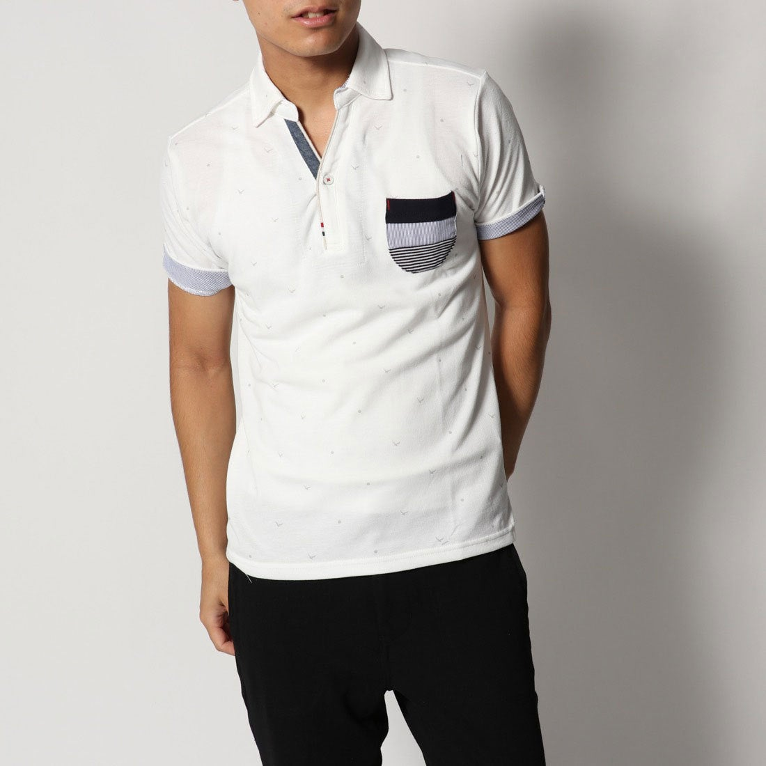 ロコンド 靴とファッションの通販サイトスタイルブロック STYLEBLOCK カノコカモメプリントスキッパーポロシャツ (ホワイト)