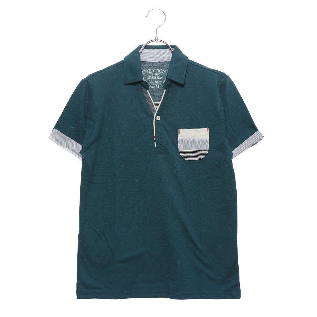 ロコンド 靴とファッションの通販サイトスタイルブロックSTYLEBLOCKカノコカモメプリントスキッパーポロシャツ(ブルーグリーン)