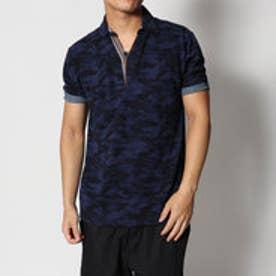 スタイルブロック STYLEBLOCK カノコ迷彩柄カモフラプリントスキッパー半袖ポロシャツ (ネイビー)