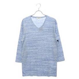 スタイルブロック STYLEBLOCK 引き揃え杢フライスVネック7分袖Tシャツカットソー (ブルー)