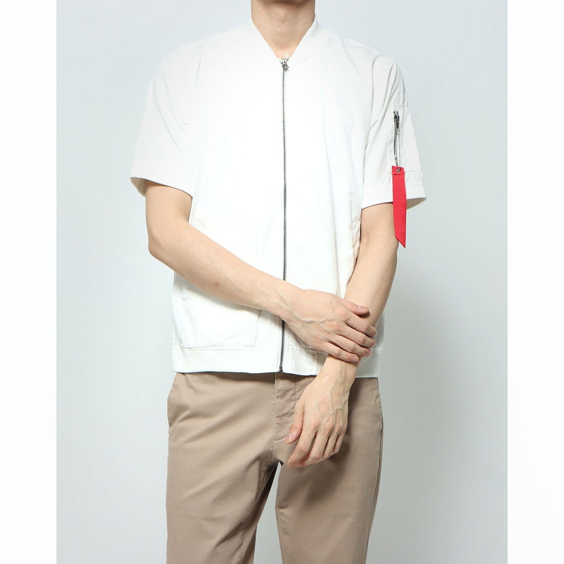 ロコンド 靴とファッションの通販サイトスタイルブロック STYLEBLOCK ポプリンMA-1ミリタリー半袖シャツ (ホワイト)
