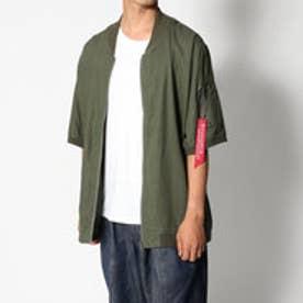 スタイルブロック STYLEBLOCK 麻混MA-1ミリタリー半袖シャツジャケット (カーキ)