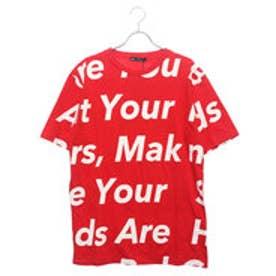 スタイルブロック STYLEBLOCK 綿100%ビッグシルエットビックロゴプリント半袖Tシャツカットソー (レッド)