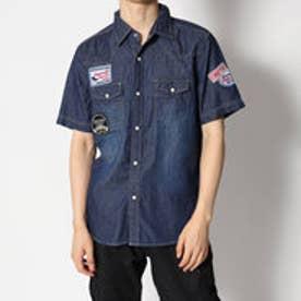 スタイルブロック STYLEBLOCK デニムワッペン付き半袖ウエスタンシャツ (ネイビー)