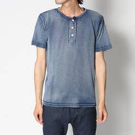 スタイルブロック STYLEBLOCK 綿100%インディゴカットデニムヘンリーネック半袖Tシャツカットソー (ネイビー)