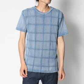 スタイルブロック STYLEBLOCK 綿100%インディゴカットデニムスクエアピンタック半袖Tシャツカットソー (ブルー)