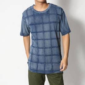 スタイルブロック STYLEBLOCK 綿100%インディゴカットデニムスクエアピンタック半袖Tシャツカットソー (ネイビー)