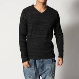 スタイルブロック STYLEBLOCK ミックスカラーランダムテレコVネック長袖Tシャツ (ブラック)