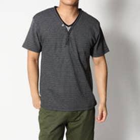 スタイルブロック STYLEBLOCK MIXワッフルフェイクレイヤード5ボタンYヘンリーネック半袖Tシャツカットソー (MIXブラック)