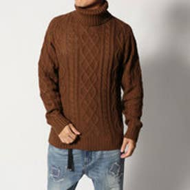 スタイルブロック STYLEBLOCK ケーブル×天竺編みウォッシャラブルタートルネックニットセーター (ブラウン)