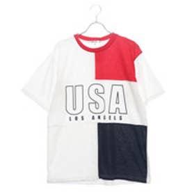 スタイルブロック STYLEBLOCK ビッグシルエットドロップショルダー前身切替USAロゴプリントワイド半袖Tシャツカットソー (レッド)