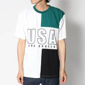 スタイルブロック STYLEBLOCK ビッグシルエットドロップショルダー前身切替USAロゴプリントワイド半袖Tシャツカットソー (グリーン)