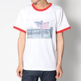 スタイルブロック STYLEBLOCK USA星条旗ガールズフォトプリントリンガー半袖Tシャツカットソー (レッド)