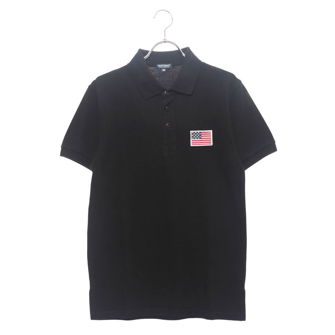 ロコンド 靴とファッションの通販サイトスタイルブロック STYLEBLOCK USA星条旗胸刺繍鹿の子半袖ポロシャツ (ブラック)