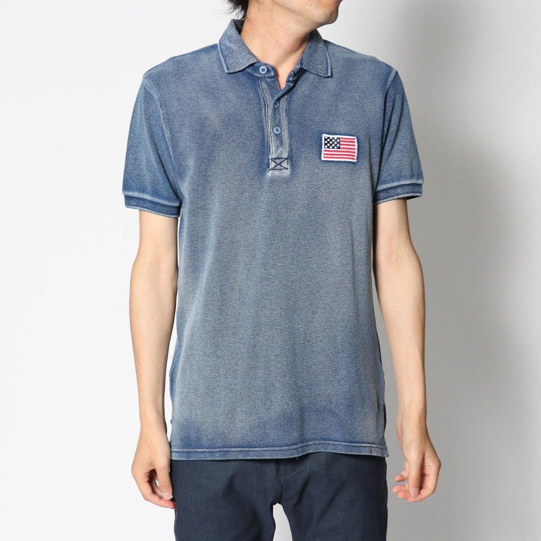 ロコンド 靴とファッションの通販サイトスタイルブロック STYLEBLOCK USA星条旗胸刺繍鹿の子半袖ポロシャツ (ネイビー)