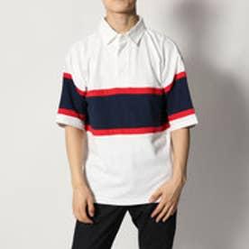 スタイルブロック STYLEBLOCK 切替ビッグシルエットドロップショルダー半袖ラガーシャツ (オフホワイト)