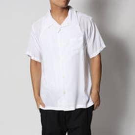 スタイルブロック STYLEBLOCK レーヨン無地オープンカラー開襟シャツ (ホワイト)