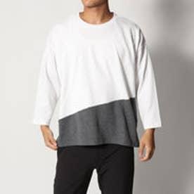 スタイルブロック STYLEBLOCK 綿ポンチ8分袖切り替えBIGTシャツ (オフホワイト)
