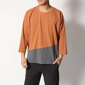 スタイルブロック STYLEBLOCK 綿ポンチ8分袖切り替えBIGTシャツ (テラコッタ)