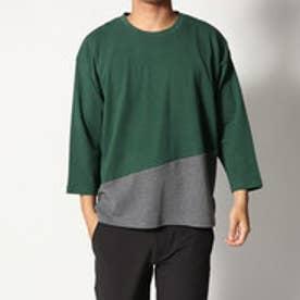 スタイルブロック STYLEBLOCK 綿ポンチ8分袖切り替えBIGTシャツ (グリーン)