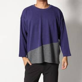 スタイルブロック STYLEBLOCK 綿ポンチ8分袖切り替えBIGTシャツ (パープル)