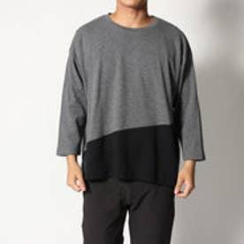 スタイルブロック STYLEBLOCK 綿ポンチ8分袖切り替えBIGTシャツ (杢チャコール)