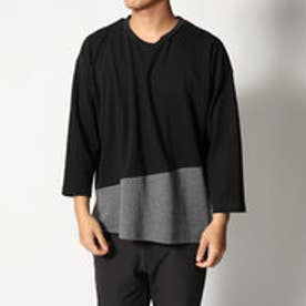 スタイルブロック STYLEBLOCK 綿ポンチ8分袖切り替えBIGTシャツ (ブラック)