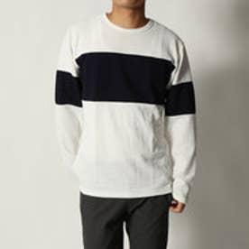 スタイルブロック STYLEBLOCK タックワッフル配色切替クルーネック長袖Tシャツ (ホワイト)