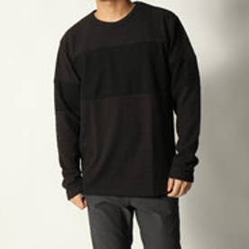 スタイルブロック STYLEBLOCK タックワッフル配色切替クルーネック長袖Tシャツ (チャコール)