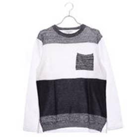 スタイルブロック STYLEBLOCK 変わり編み切替ポケットつきクルーネック長袖Tシャツ (ホワイト)