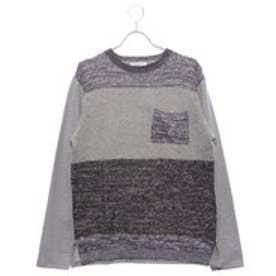 スタイルブロック STYLEBLOCK 変わり編み切替ポケットつきクルーネック長袖Tシャツ (グレー)