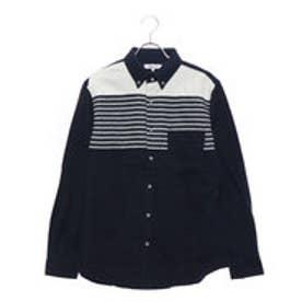 スタイルブロック STYLEBLOCK ネル起毛パネルボーダーボタンダウンシャツ (ネイビー)