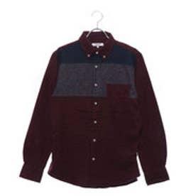 スタイルブロック STYLEBLOCK ネル起毛パネルボーダーボタンダウンシャツ (ワイン)