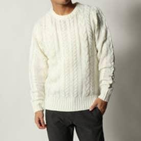 スタイルブロック STYLEBLOCK アクリル総ケーブル編みセーター (ホワイト)