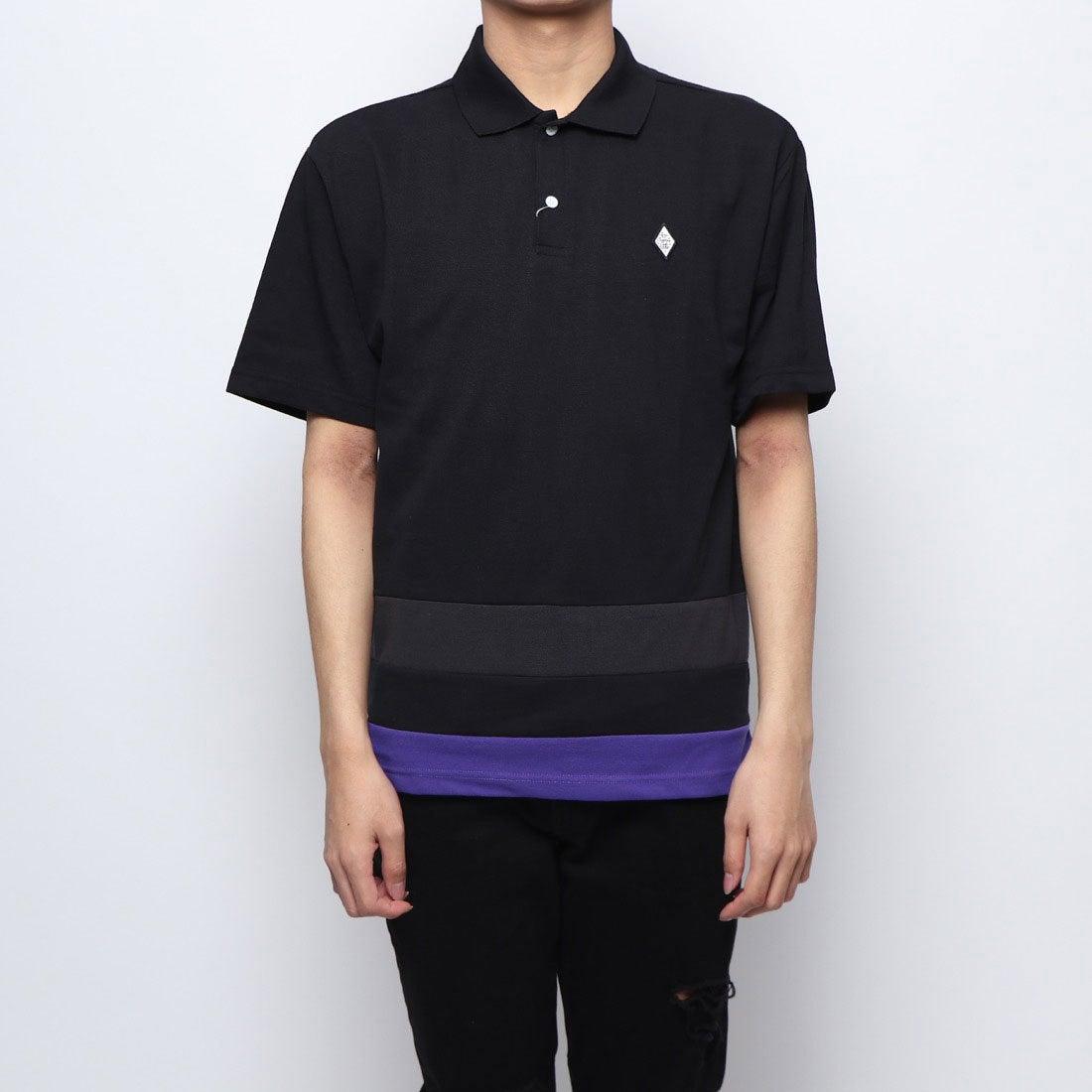 ロコンド 靴とファッションの通販サイトスタイルブロック STYLEBLOCK T/Cカノコ裾切替え2Bポロシャツ (ブラック)