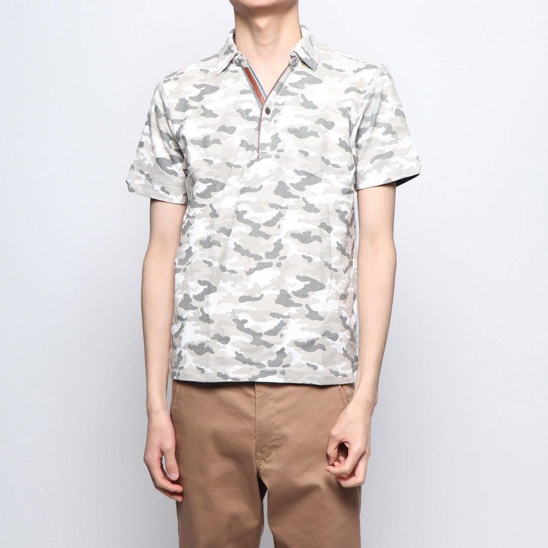 ロコンド 靴とファッションの通販サイトスタイルブロック STYLEBLOCK 綿カノコカモフラプリントPU使いポロシャツ (ホワイト)