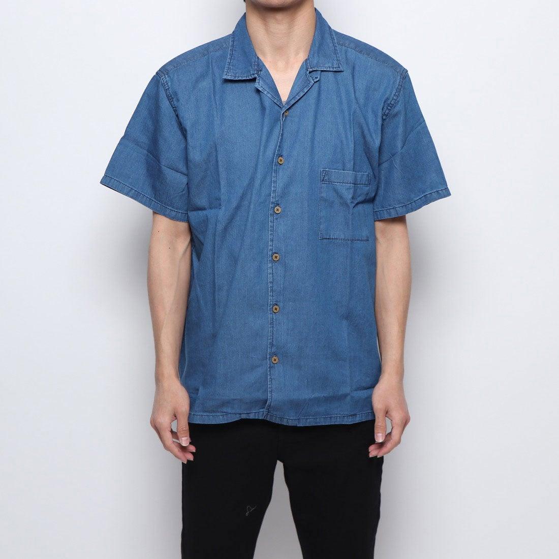 ロコンド 靴とファッションの通販サイトスタイルブロック STYLEBLOCK ビッグシルエット開襟デニムシャツ (ブルー)
