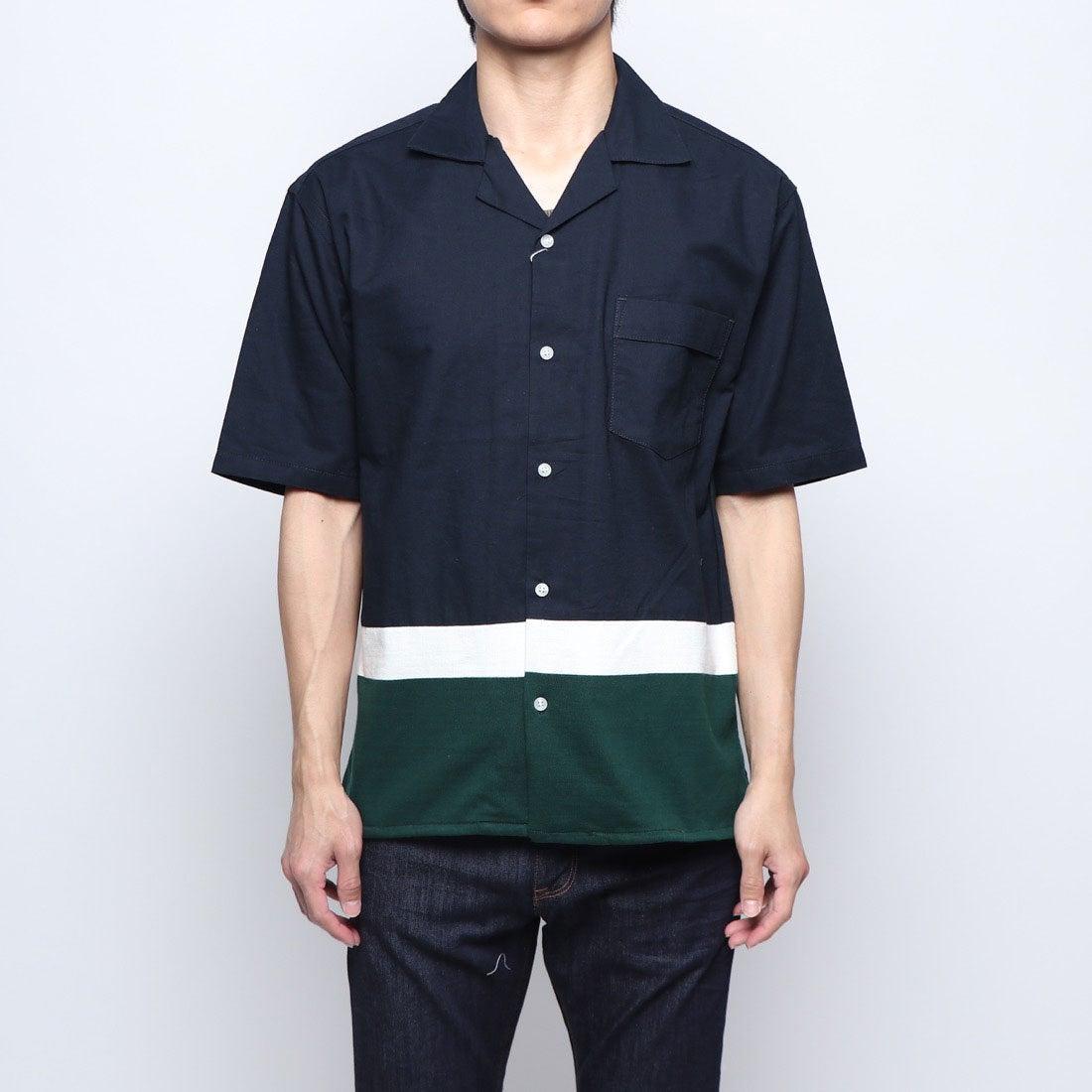ロコンド 靴とファッションの通販サイトスタイルブロック STYLEBLOCK オックス裾ニット切替半袖オープンカラーシャツ (ネイビー)