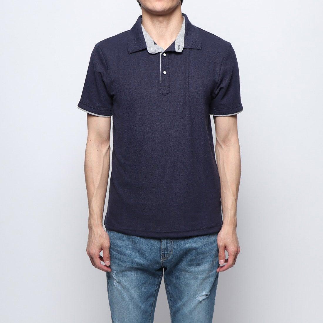 ロコンド 靴とファッションの通販サイトスタイルブロック STYLEBLOCK 配色鹿の子ドライポロシャツ (ネイビー)