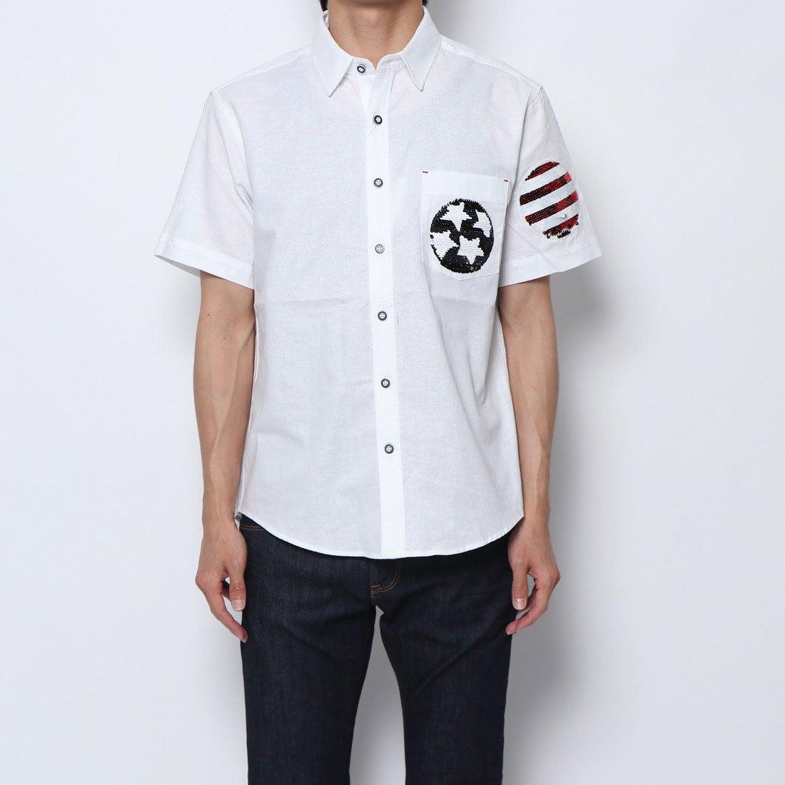 ロコンド 靴とファッションの通販サイトスタイルブロック STYLEBLOCK オックス両面スパンコール刺繍半袖レギュラーシャツ (オフホワイト)