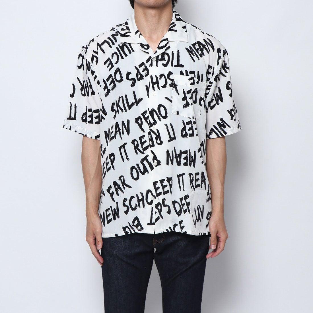 ロコンド 靴とファッションの通販サイトスタイルブロック STYLEBLOCK 総柄ロゴプリント半袖オープンカラーシャツ (オフホワイト)