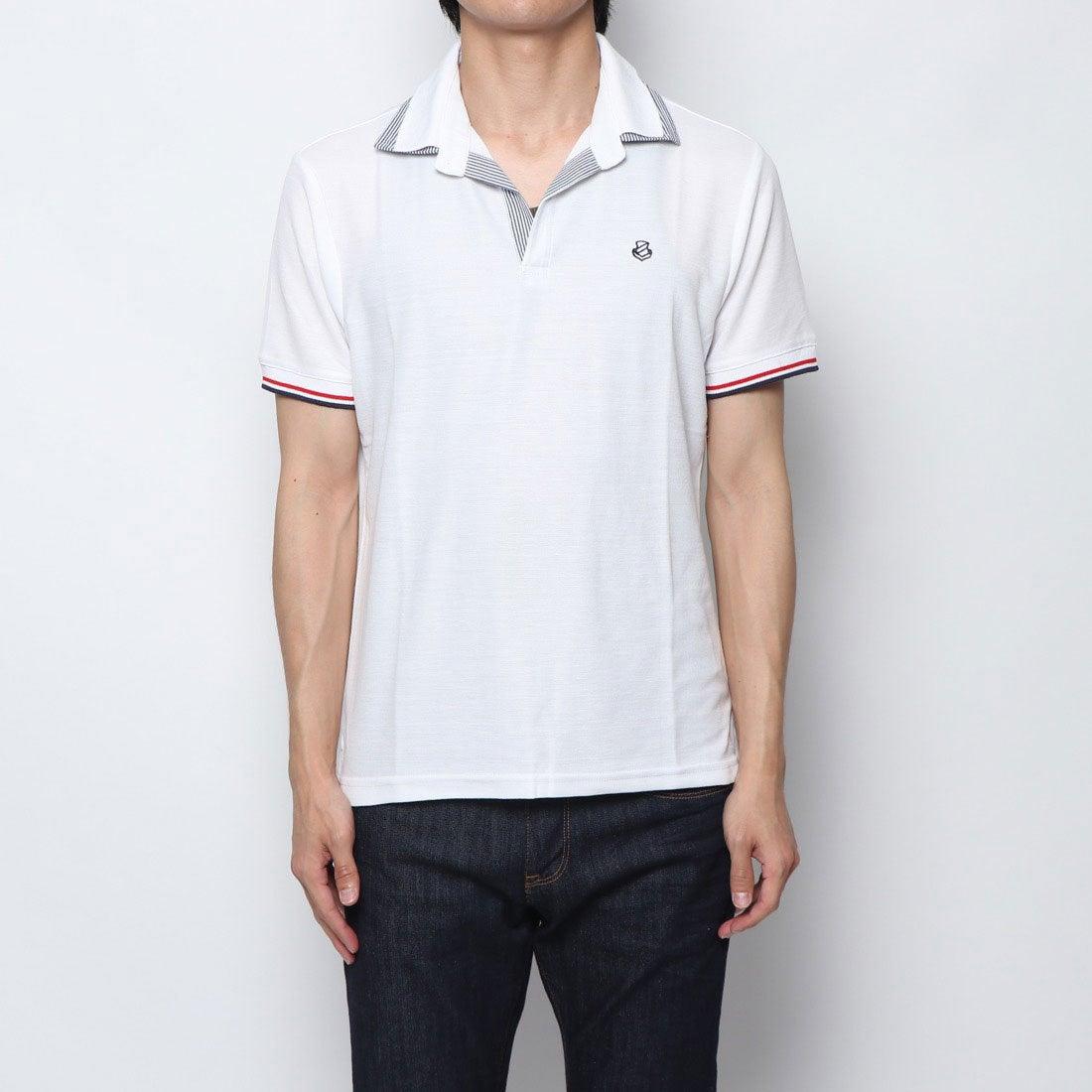 ロコンド 靴とファッションの通販サイトスタイルブロック STYLEBLOCK ドライ鹿の子無地スキッパーポロシャツ (ホワイト)