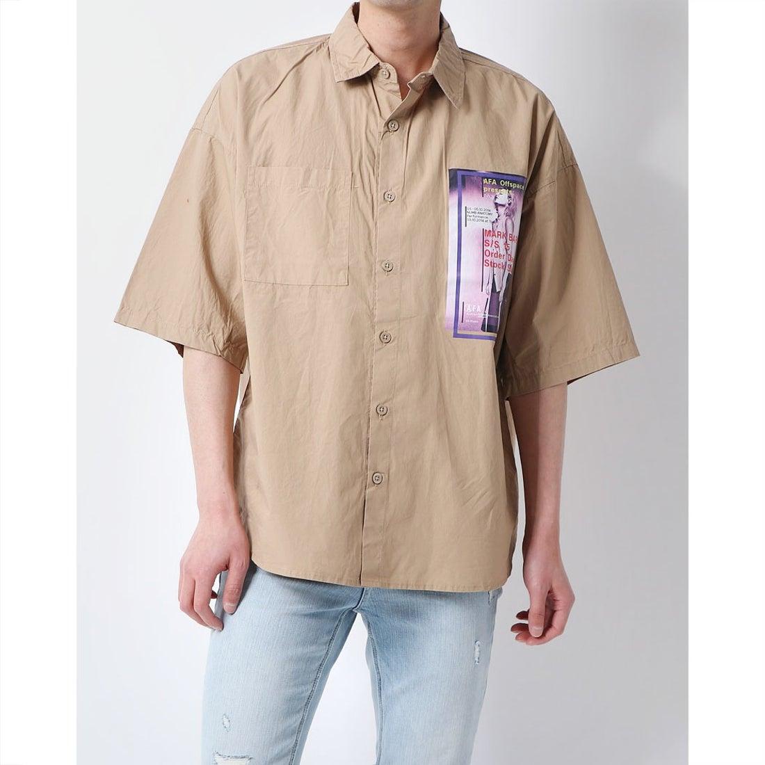 ロコンド 靴とファッションの通販サイトスタイルブロック STYLEBLOCK フォト付きタイプライター半袖ビッグシャツ (ベージュ)