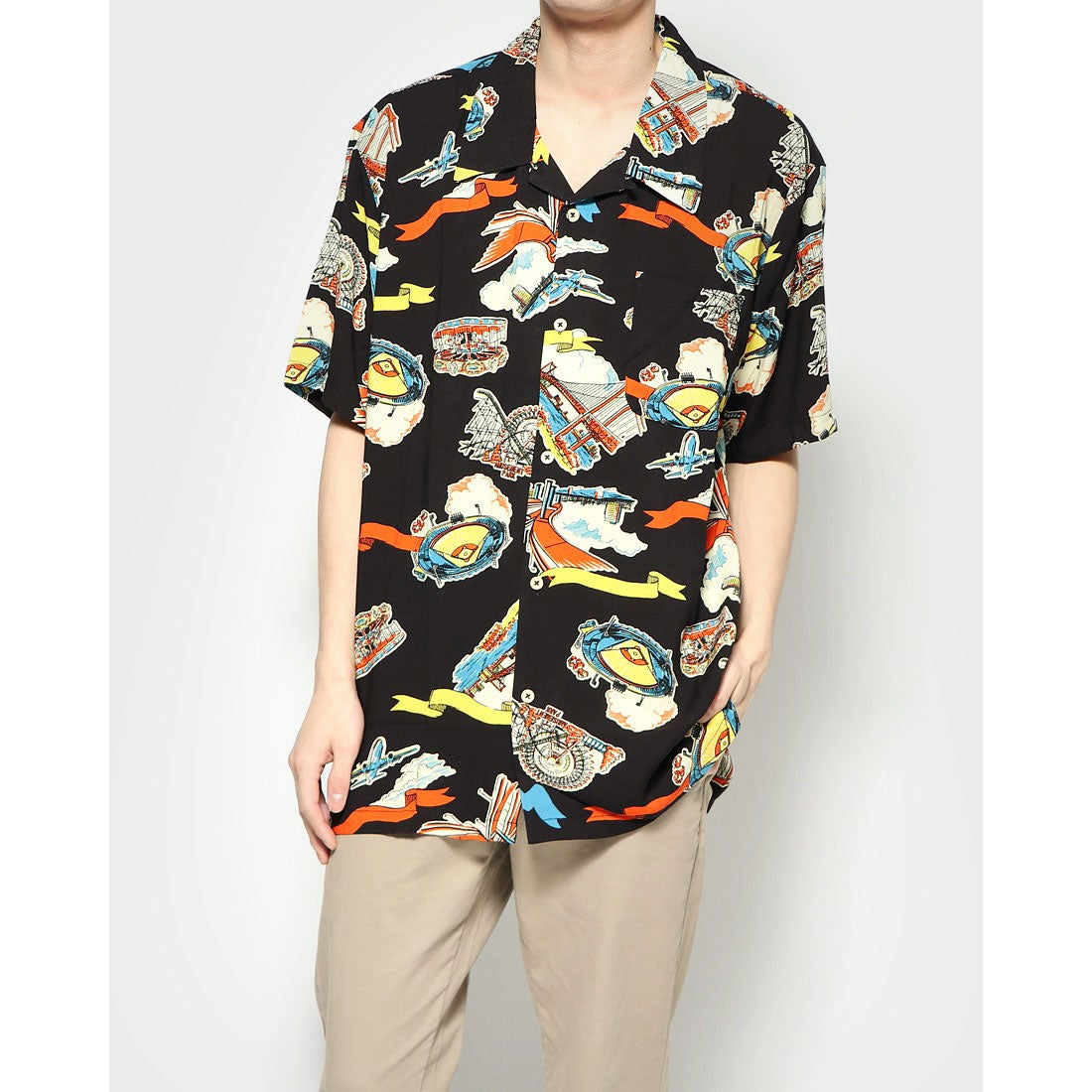 ロコンド 靴とファッションの通販サイトスタイルブロック STYLEBLOCK KINGレーヨンアロハシャツ (Hブラック)